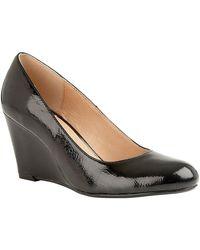 Lotus Cache Womens Patent Wedge Court Shoe - Black