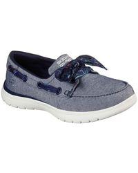 Skechers On-the-go Flex Cast Away Womens Boat Shoes - Blue