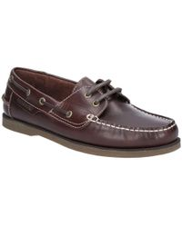 Hush Puppies Henry Mens Lace Up Moccasin Shoes - Brown