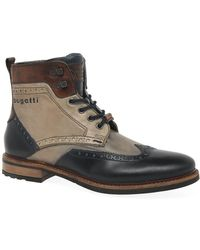 Bugatti Vancouver Mens Leather Military Brogue Ankle Boots - Multicolour