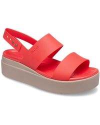 Crocs™ Brooklyn Low Womens Wedge Sandals - Red