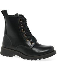 Fly London Ragi Womens Military Style Boots - Black