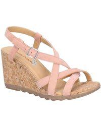 Hush Puppies Pekingese Strappy Womens Wedge Heel Sandals - Pink