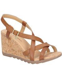 Hush Puppies Pekingese Strappy Womens Wedge Heel Sandals - Brown