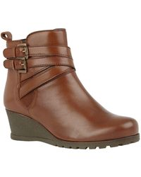 Lotus Farrow Womens Wedge Heel Ankle Boots - Brown