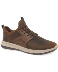Skechers Delson Axton Mens Leather Shoes - Brown
