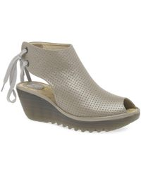 Fly London - Silver Leather 'ypul' Wedge Heeled Sandals - Lyst