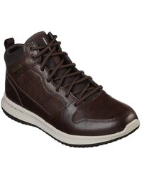 Skechers Delson Mid Waterproof Leather Lace Up Shoe - Brown