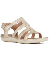Geox D Sand.vega A Buckle Womens Flat Sandal - Metallic