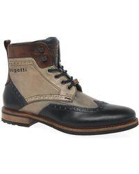 Bugatti Vancouver Mens Leather Military Brogue Ankle Boots - Multicolour