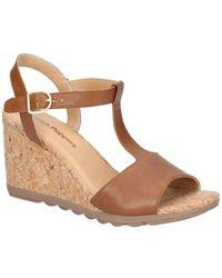 Hush Puppies Pekingese T-strap Womens Wedge Heel Sandals - Brown