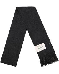 Barbour - Plain Dark Grey Lambswool Scarf - Lyst