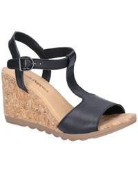 Hush Puppies Pekingese T-strap Womens Wedge Heel Sandals - Black