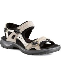 2ff54d951483 Lyst - Ecco Yucatan Adjustable Strap Leather Sandals in Black