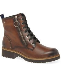 Pikolinos Vanda Womens Stud Ankle Boots - Brown