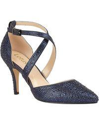 Lotus - Navy Diamante 'star' High Stiletto Heel Court Shoes - Lyst