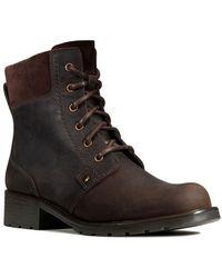 Clarks Orinoco Spice Nubuck Boots In Dark Brown Wide Fit Size 6