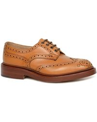 Tricker's Tricker's Bourton Acorn Muflone Burnished Derby Leather Brogue Shoes - Brown