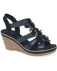Marco Tozzi Pozzo Womens Floral Wedge Heel Sandals - Blue