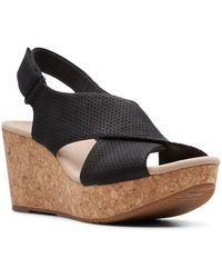 Clarks Annadel Parker Womens Wedge Sandals - Black