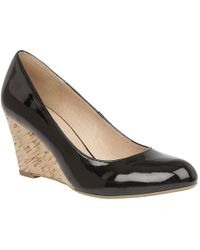 Lotus - Black Patent 'jelico' Mid Wedge Heel Court Shoes - Lyst