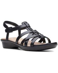 Clarks Leather 'loomis Katey' Sandals - Black