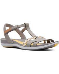 Clarks Tealite Grace Womens T-bar Sandals - Grey