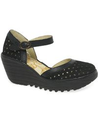 Fly London Yven Womens Wedge Heel Sandals - Black
