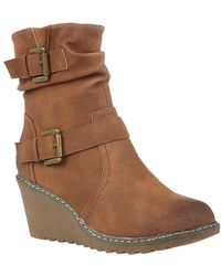 Lotus Phoebe Womens Wedge Ankle Boots - Brown