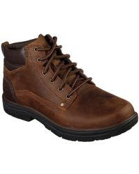 Skechers Segment Garnet Mens Casual Lace Up Leather Boots - Brown