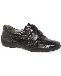 Waldläufer Stone Womens Velcro Fastening Shoes - Black