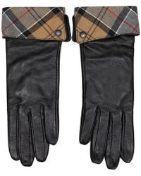 Barbour - Lady Jane Black Leather Fold Down Tartan Cuff Gloves - Lyst