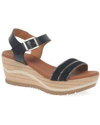 Paula Urban Waves Womens Wedge Heel Sandals - Black