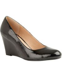Lotus Cache Womens Patent Wedge Court Shoe - Black