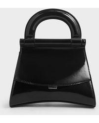 Charles & Keith Patent Top Handle Bag - Black