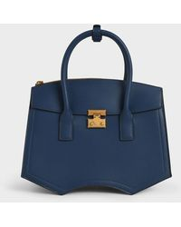 Charles & Keith Double Handle Sculptural Tote Bag - Blue