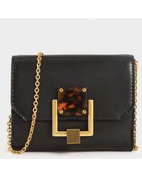 Charles & Keith Metallic Accent Mini Wallet - Black