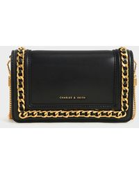 Charles & Keith Chain-trimmed Clutch - Black