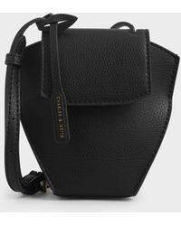 Charles & Keith Geometric Crossbody Bag - Black