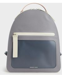 Charles & Keith Front Zip Backpack - Grey