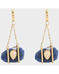 Charles & Keith Sodalite & Moonstone Drop Earrings - Blue