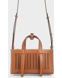 Charles & Keith Laser-cut Double Top Handle Bag - Brown