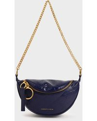 Charles & Keith Half Moon Crossbody Bag - Blue