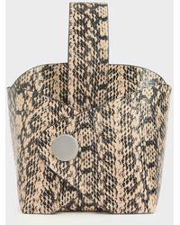 Charles & Keith Snake Print Mini Bucket Bag - Natural
