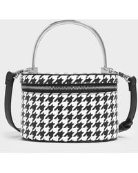 Charles & Keith Metal Top Handle Houndstooth Print Round Structured Bag - Multicolour
