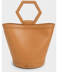 Charles & Keith Geometric Handle Bucket Bag - Multicolour