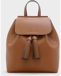 Charles & Keith Tasselled Backpack - Brown