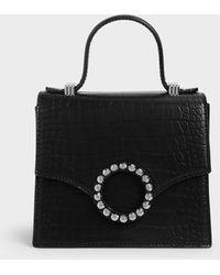 Charles & Keith Croc-effect Embellished-buckle Bag - Black
