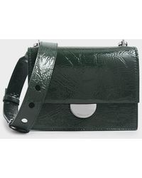 Charles & Keith Round Metal Accent Wrinkled Patent Bag - Green
