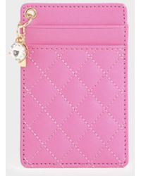 Charles & Keith Quilted Card Holder - Pink